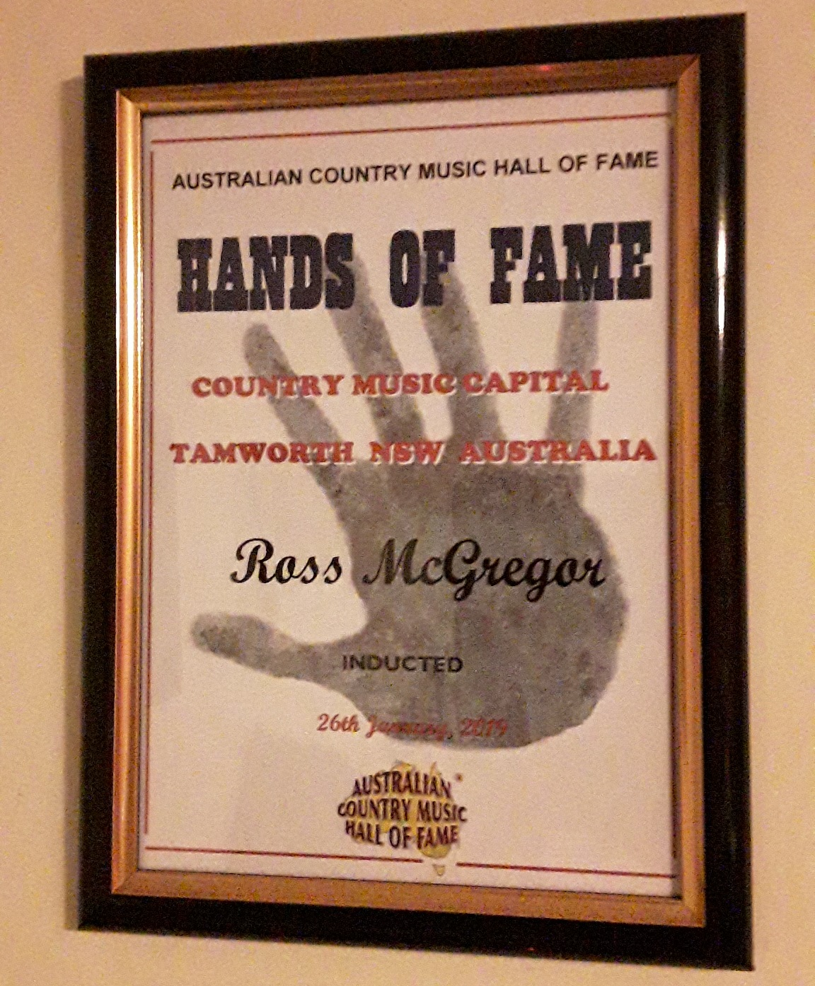 Ross has been inducted into the Hands of Fame